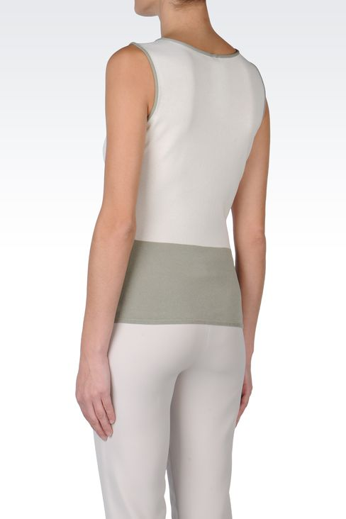 TWO-COLOUR SLEEVELESS TOP: Sleeveless tops Women by Armani - 3