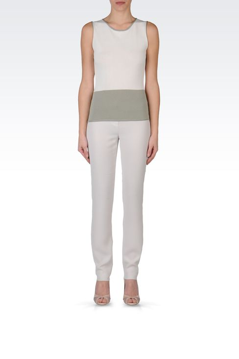 TWO-COLOUR SLEEVELESS TOP: Sleeveless tops Women by Armani - 1