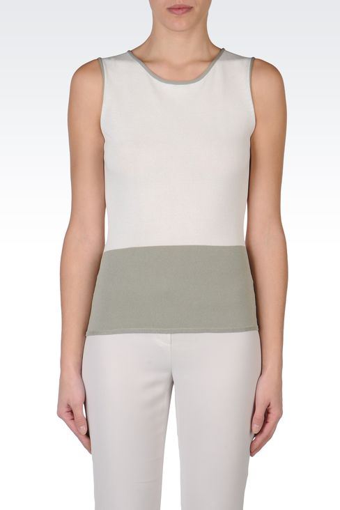 TWO-COLOUR SLEEVELESS TOP: Sleeveless tops Women by Armani - 2