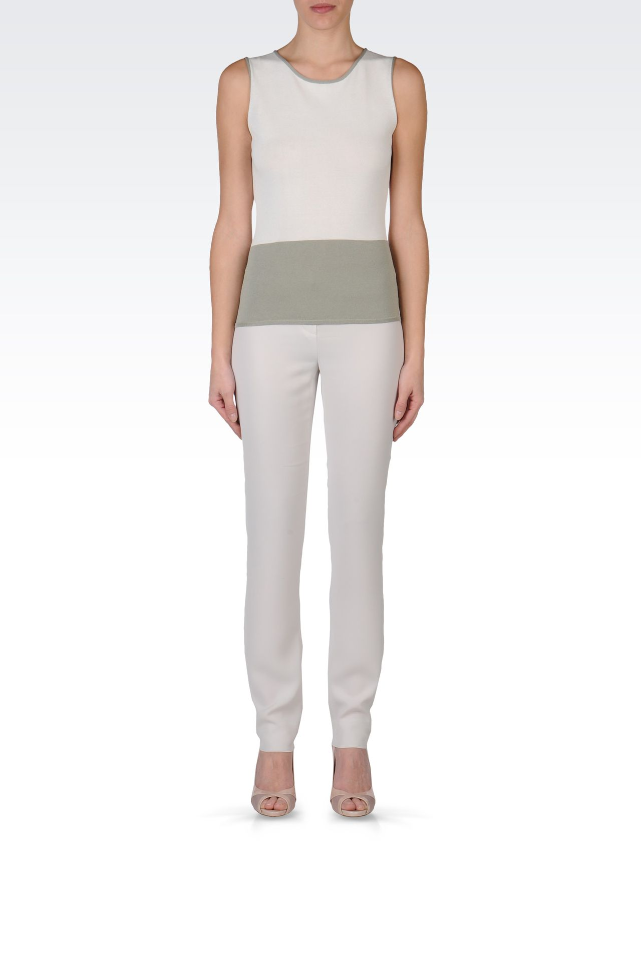 TWO-COLOUR SLEEVELESS TOP: Sleeveless tops Women by Armani - 0