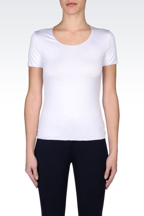 CREW NECK T-SHIRT IN STRETCH VISCOSE: Print t-shirts Women by Armani - 2