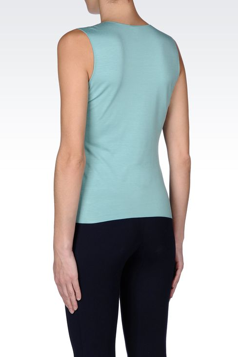 SLEEVELESS TOP IN STRETCH VISCOSE: Sleeveless tops Women by Armani - 3