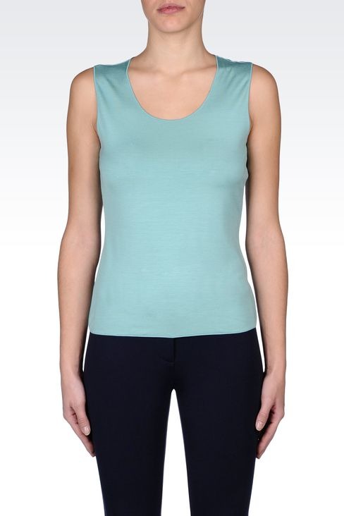 SLEEVELESS TOP IN STRETCH VISCOSE: Sleeveless tops Women by Armani - 2