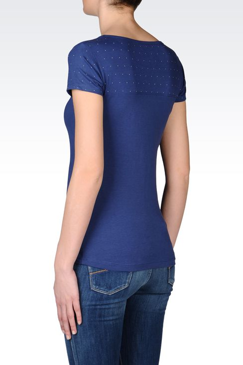 T-SHIRT IN STRETCH COTTON WITH STUDS: Short sleeved t-shirts Women by Armani - 3