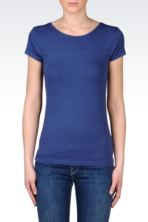 T-SHIRT IN STRETCH COTTON WITH STUDS: Short sleeved t-shirts Women by Armani - 2