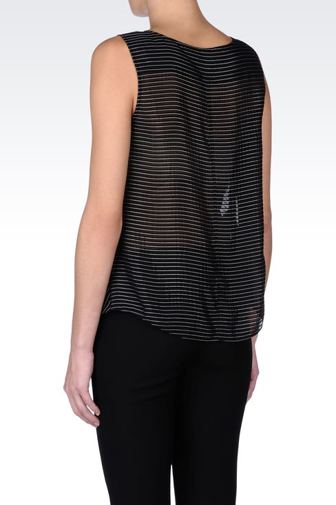 STRIPED TOP WITH FRONT PLEAT: Sleeveless tops Women by Armani - 3