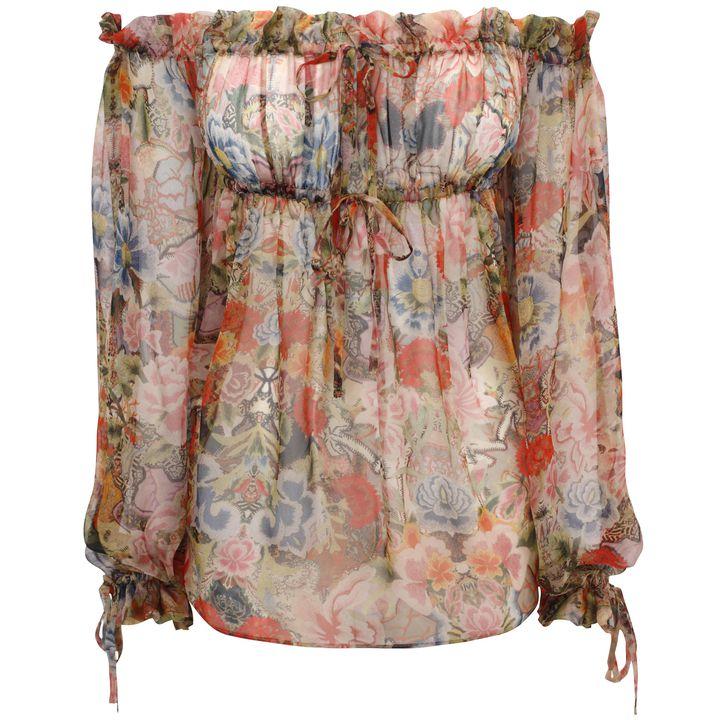 Alexander McQueen, Patchwork Floral Off-Shoulder Drawstring Top