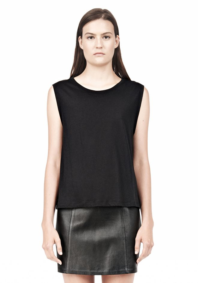 T by ALEXANDER WANG SINGLE JERSEY MUSCLE TEE TOP Adult 12_n_e