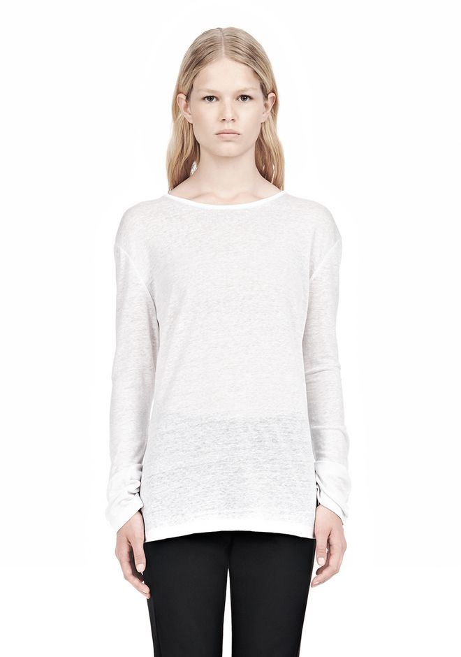T by ALEXANDER WANG LINEN SILK LONG SLEEVE TEE TOP Adult 12_n_e