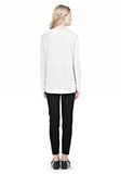 T by ALEXANDER WANG LINEN SILK LONG SLEEVE TEE TOP Adult 8_n_r