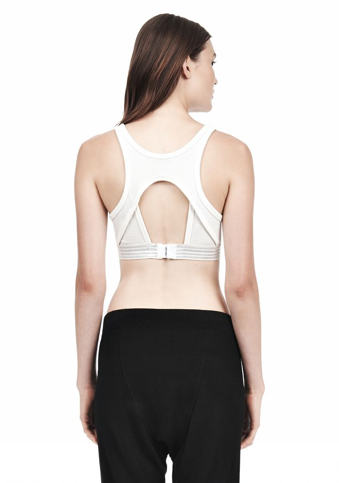 T by ALEXANDER WANG JERSEY SPORTS BRA WITH CUTOUT BACK DETAIL TOP Adult 12_n_d