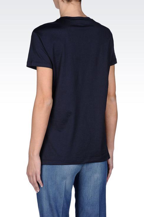 JERSEY T-SHIRT WITH LOGO PRINT: Print t-shirts Women by Armani - 3