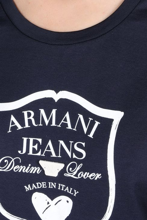 JERSEY T-SHIRT WITH LOGO PRINT: Print t-shirts Women by Armani - 4