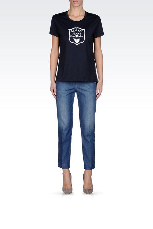 JERSEY T-SHIRT WITH LOGO PRINT: Print t-shirts Women by Armani - 1