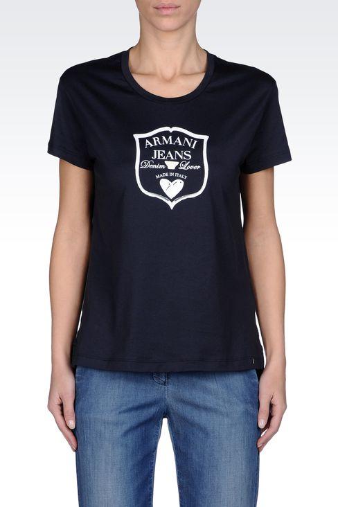 JERSEY T-SHIRT WITH LOGO PRINT: Print t-shirts Women by Armani - 2