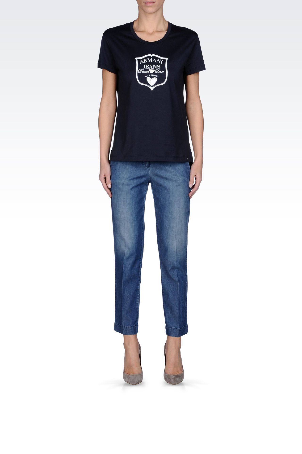 JERSEY T-SHIRT WITH LOGO PRINT: Print t-shirts Women by Armani - 0