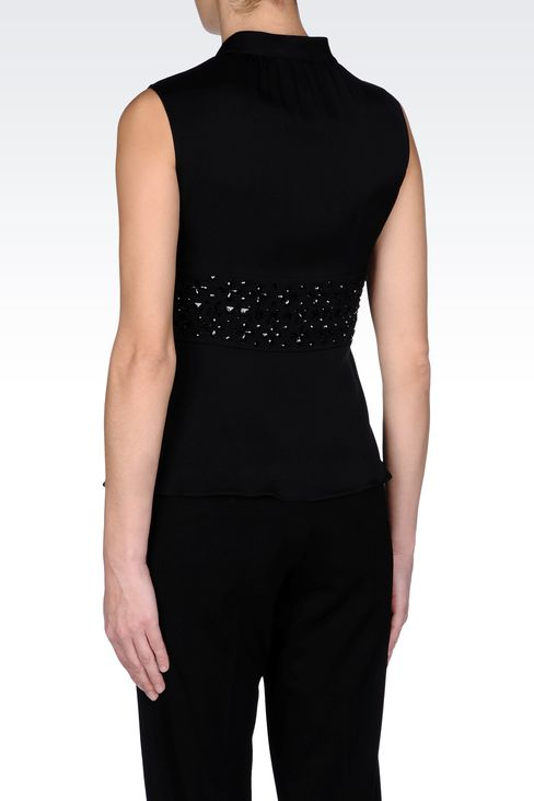 SILK TOP WITH BOW AND JEWEL APPLIQUÉ DETAILS: Sleeveless tops Women by Armani - 3