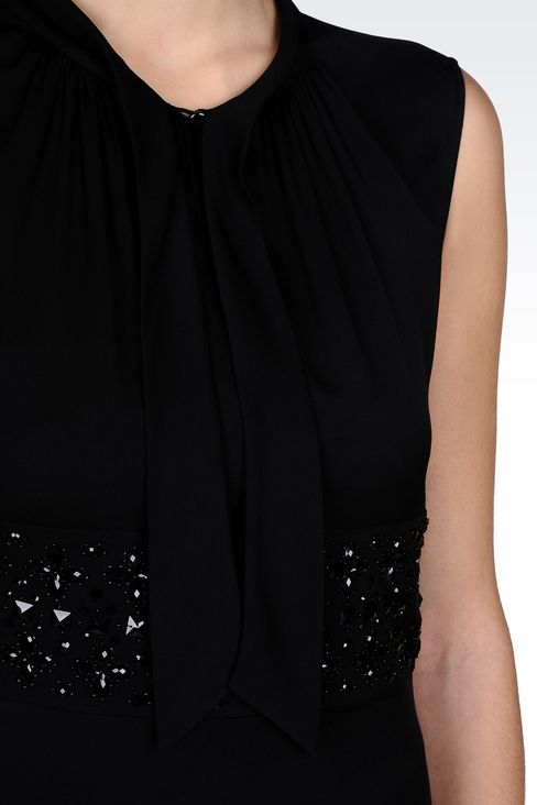 SILK TOP WITH BOW AND JEWEL APPLIQUÉ DETAILS: Sleeveless tops Women by Armani - 4