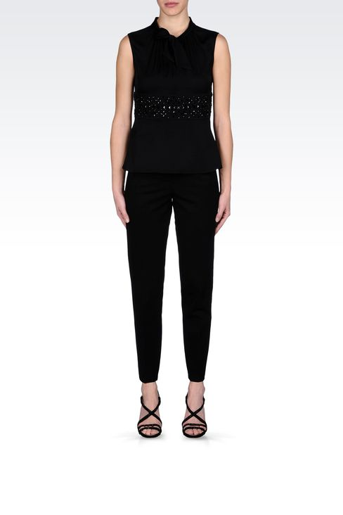 SILK TOP WITH BOW AND JEWEL APPLIQUÉ DETAILS: Sleeveless tops Women by Armani - 1
