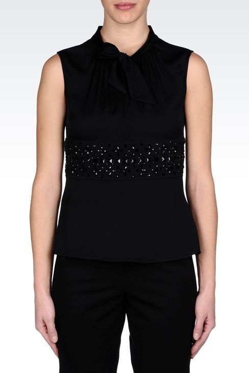 SILK TOP WITH BOW AND JEWEL APPLIQUÉ DETAILS: Sleeveless tops Women by Armani - 2