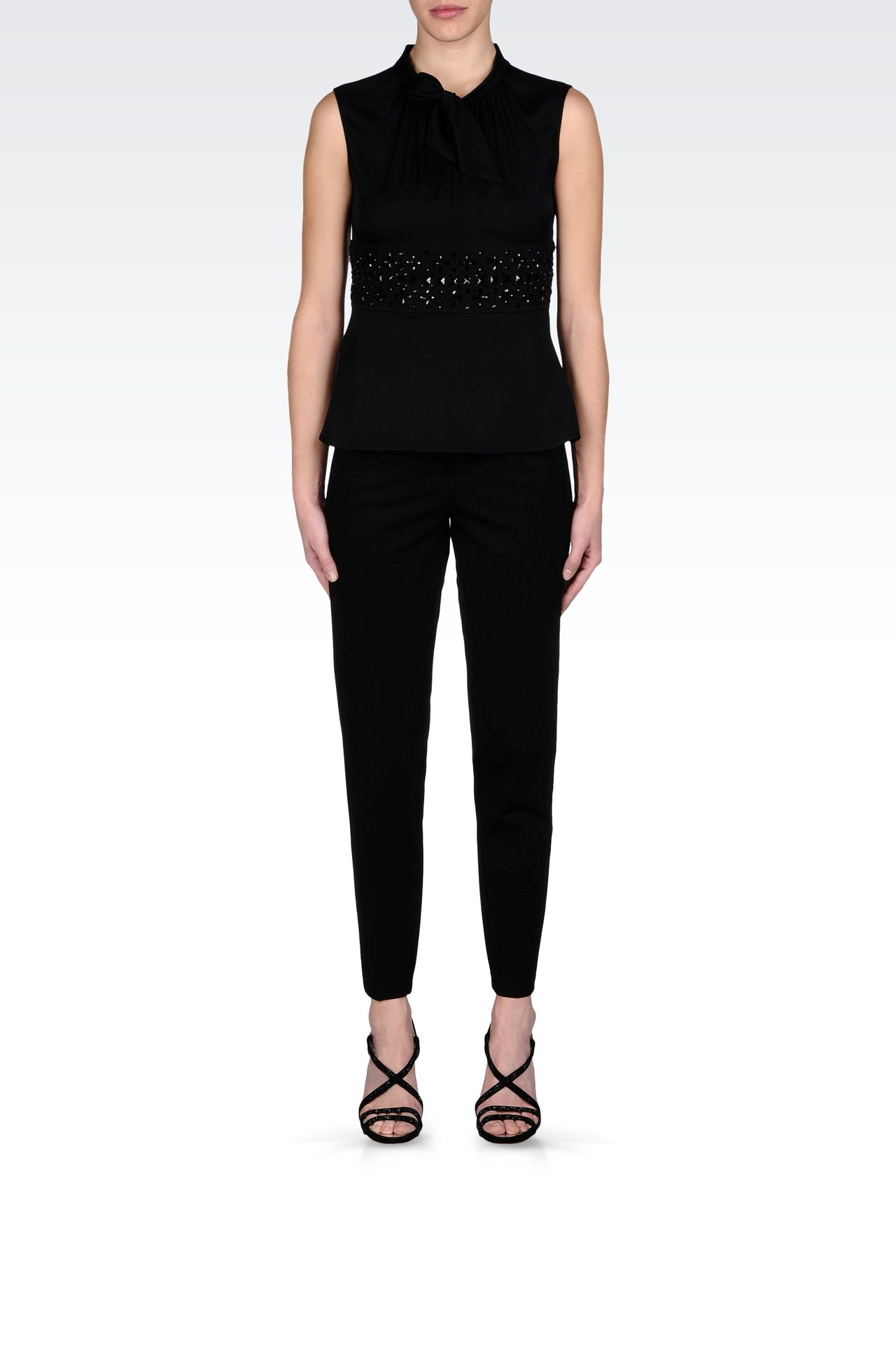 SILK TOP WITH BOW AND JEWEL APPLIQUÉ DETAILS: Sleeveless tops Women by Armani - 0