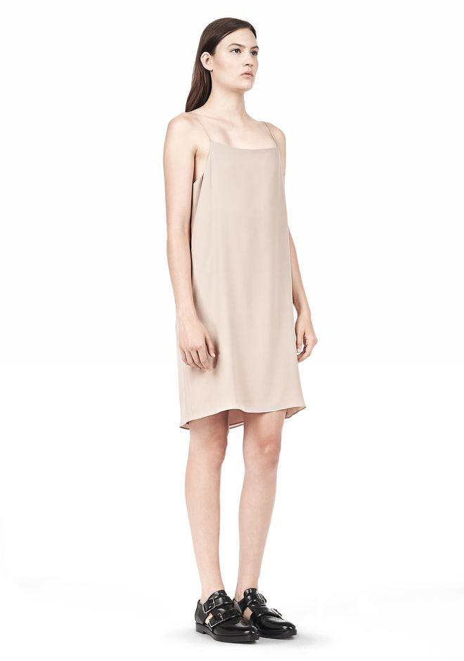 T by ALEXANDER WANG SILK SQUARE NECK SLIP DRESS Short Dress Adult 12_n_e