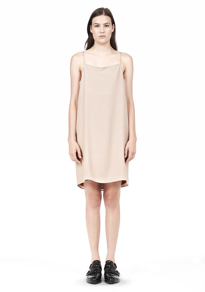 T by ALEXANDER WANG SILK SQUARE NECK SLIP DRESS