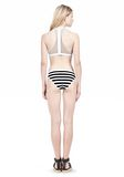 T by ALEXANDER WANG STRIPE MESH COMBO CREWNECK RACERBACK SWIM TOP Swimwear Adult 8_n_r