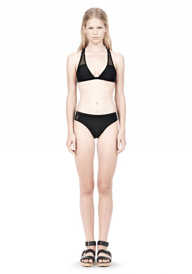 T by ALEXANDER WANG MESH COMBO HALTER RACERBACK SWIM TOP Swimwear Adult 12_n_f
