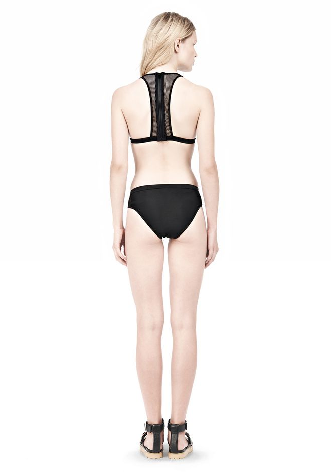 T by ALEXANDER WANG MESH COMBO HALTER RACERBACK SWIM TOP Swimwear Adult 12_n_r