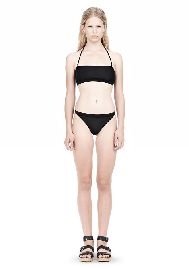 T by ALEXANDER WANG SWIM MATTE JERSEY BANDEAU WITH TRIANGLE T STRAPS