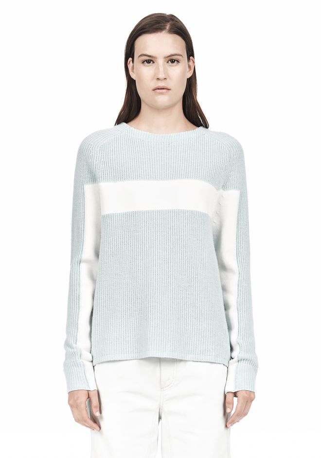 T by ALEXANDER WANG COTTON MERINO BLEND STRIPE PULLOVER TOP Adult 12_n_e