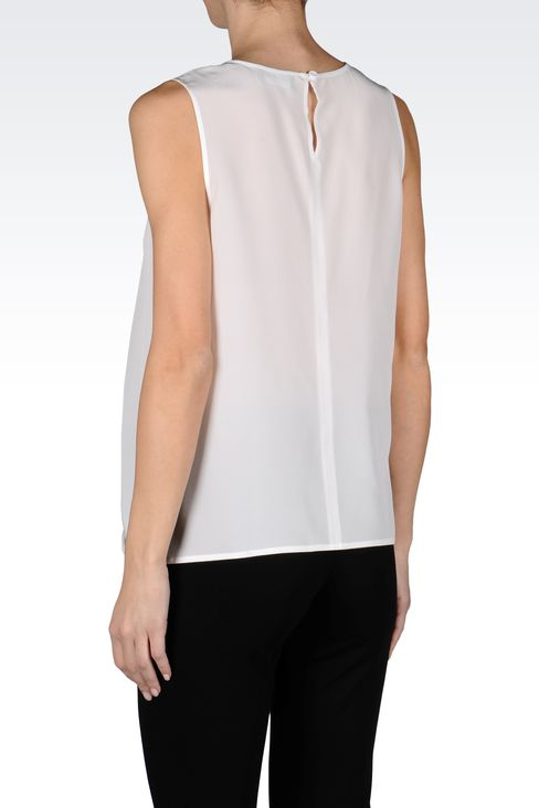 CREW NECK SILK TOP WITH DRAPE DETAIL: Sleeveless tops Women by Armani - 3