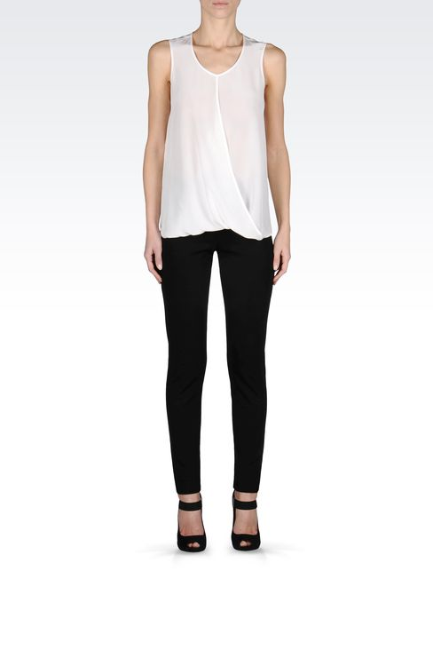 CREW NECK SILK TOP WITH DRAPE DETAIL: Sleeveless tops Women by Armani - 1