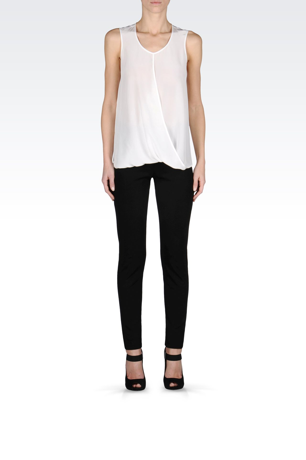 CREW NECK SILK TOP WITH DRAPE DETAIL: Sleeveless tops Women by Armani - 0