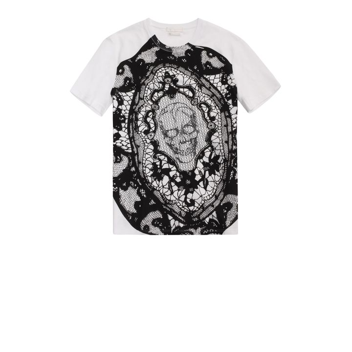 Alexander McQueen, Skull Lace Embroidered T-Shirt