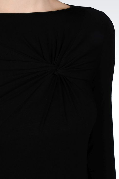 JERSEY T-SHIRT WITH KNOT DETAIL: Print t-shirts Women by Armani - 4