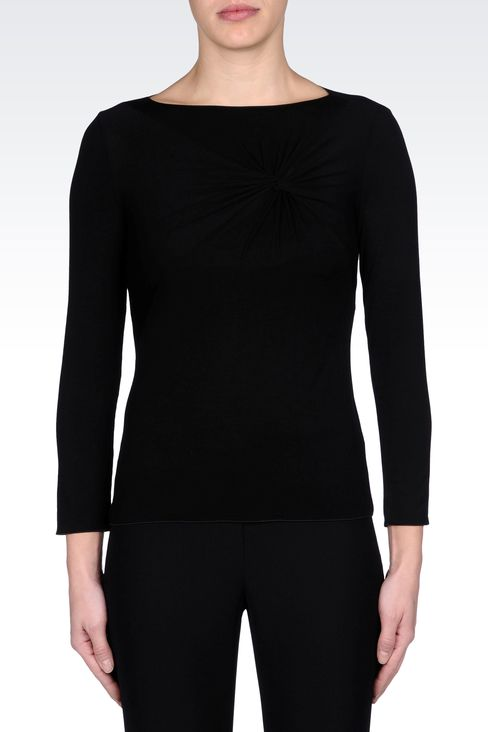 JERSEY T-SHIRT WITH KNOT DETAIL: Print t-shirts Women by Armani - 2