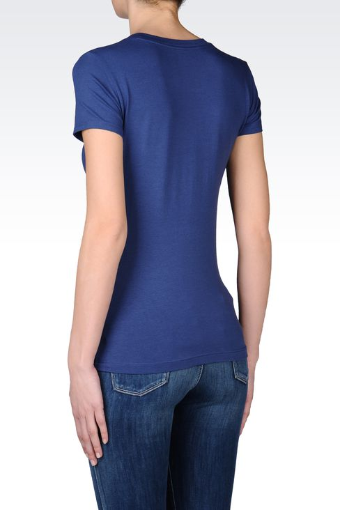 T-SHIRT IN STRETCH COTTON WITH EMBROIDERED PRINT: Short sleeved t-shirts Women by Armani - 3