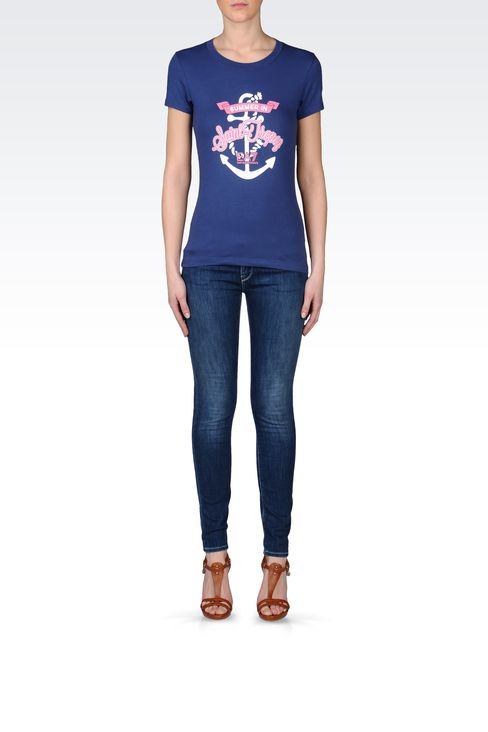 T-SHIRT IN STRETCH COTTON WITH EMBROIDERED PRINT: Short sleeved t-shirts Women by Armani - 1