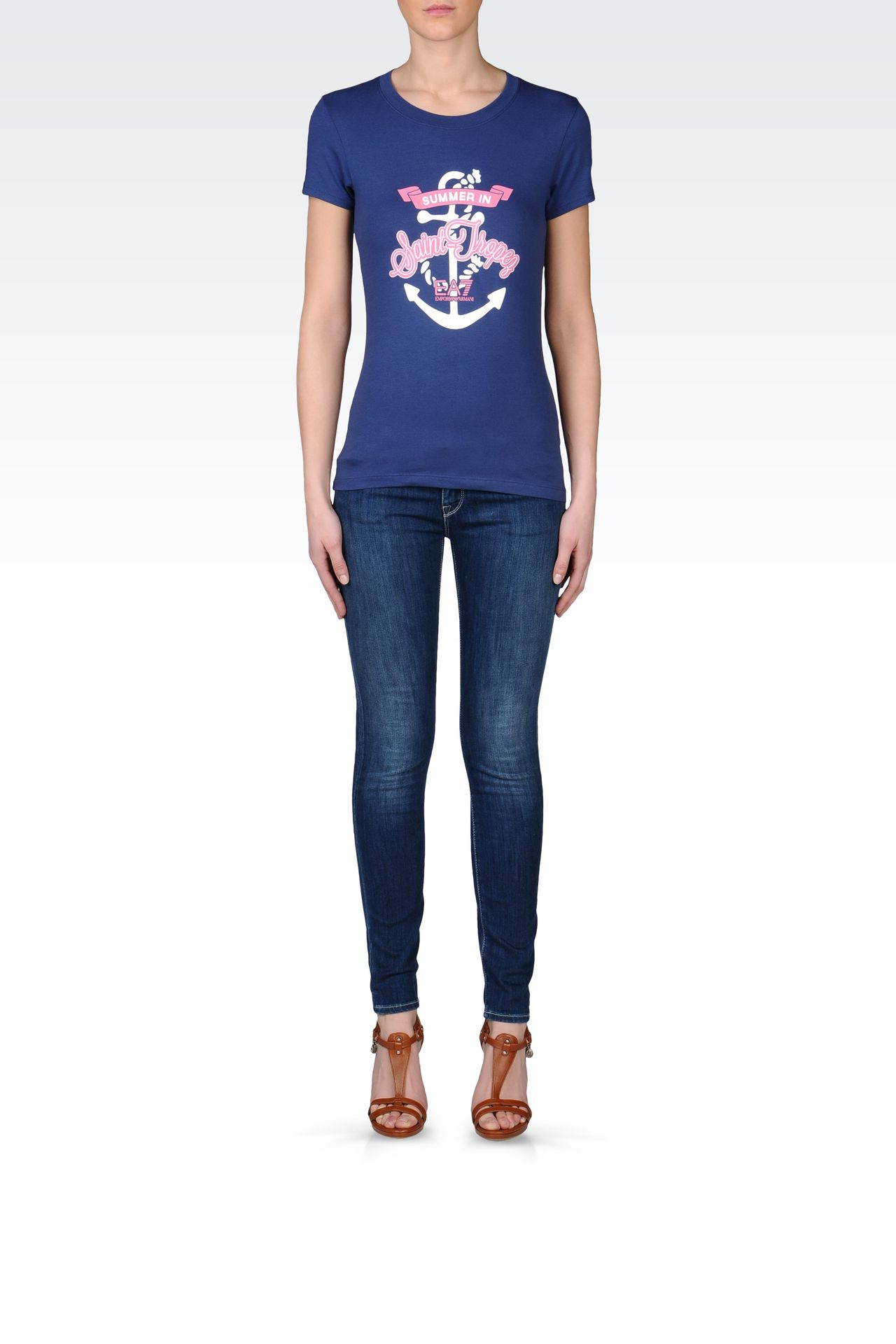 T-SHIRT IN STRETCH COTTON WITH EMBROIDERED PRINT: Short sleeved t-shirts Women by Armani - 0
