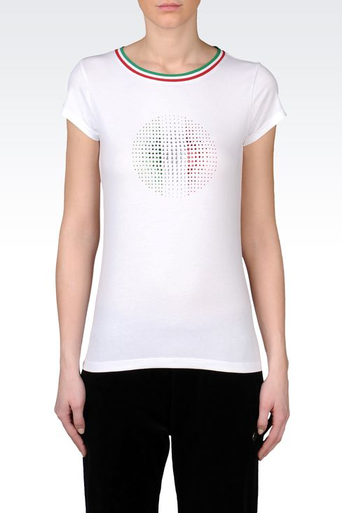T-SHIRT IN STRETCH COTTON WITH FLAG PRINT: Short sleeved t-shirts Women by Armani - 2