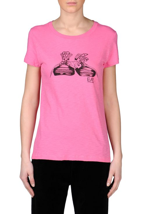 PRINTED JERSEY T-SHIRT: Short sleeved t-shirts Women by Armani - 2