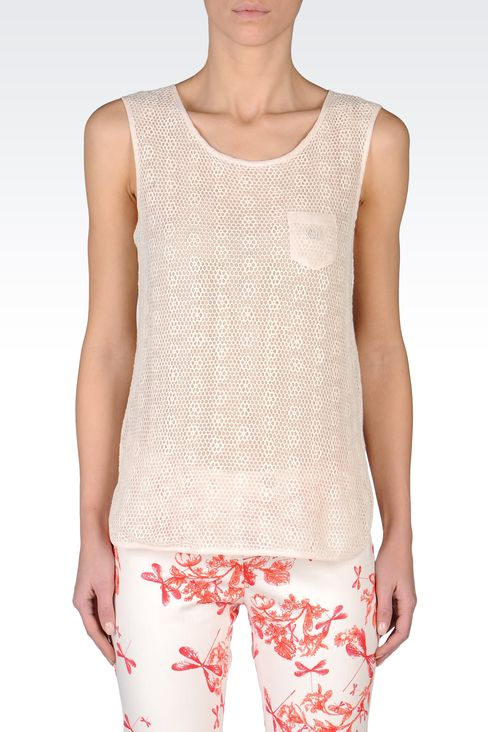 SLEEVELESS LACE TOP: Print t-shirts Women by Armani - 2