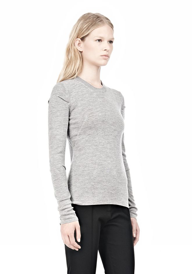 ALEXANDER WANG RIBBED PULLOVER WITH PINCHED DARTS TOP Adult 12_n_a