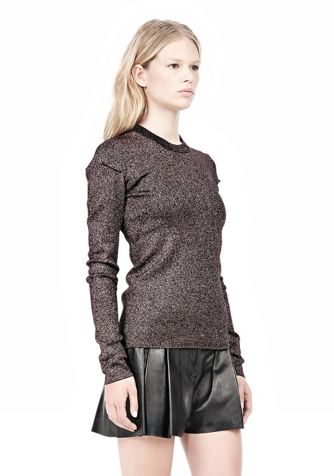 ALEXANDER WANG RIBBED LUREX CREWNECK WITH PINCHED DARTS TOP Adult 12_n_a