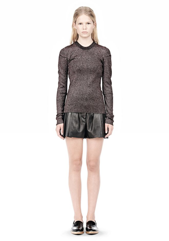 ALEXANDER WANG RIBBED LUREX CREWNECK WITH PINCHED DARTS TOP Adult 12_n_f