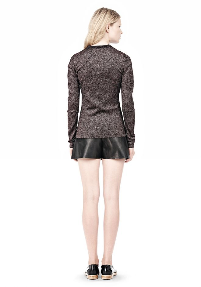 ALEXANDER WANG RIBBED LUREX CREWNECK WITH PINCHED DARTS TOP Adult 12_n_r