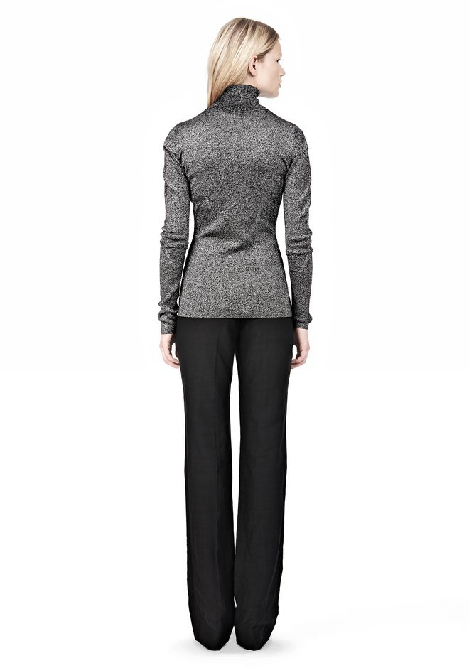 RIBBED LUREX TURTLENECK WITH PINCHED DARTS