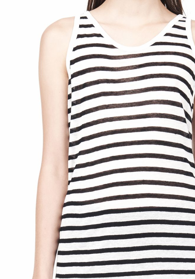 T by ALEXANDER WANG STRIPE RAYON LINEN TANK TOP Adult 12_n_a